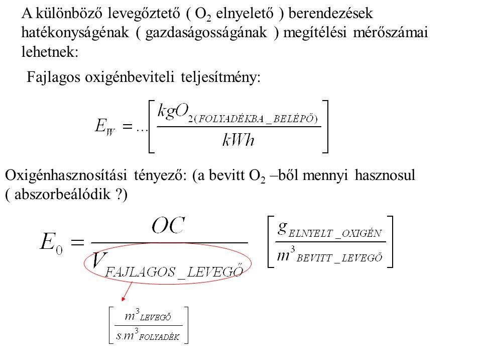 A különböző levegőztető ( O 2 elnyelető ) berendezések hatékonyságénak ( gazdaságosságának ) megítélési mérőszámai lehetnek: Fajlagos oxigénbeviteli teljesítmény: Oxigénhasznosítási tényező: (a bevitt O 2 –ből mennyi hasznosul ( abszorbeálódik ?)
