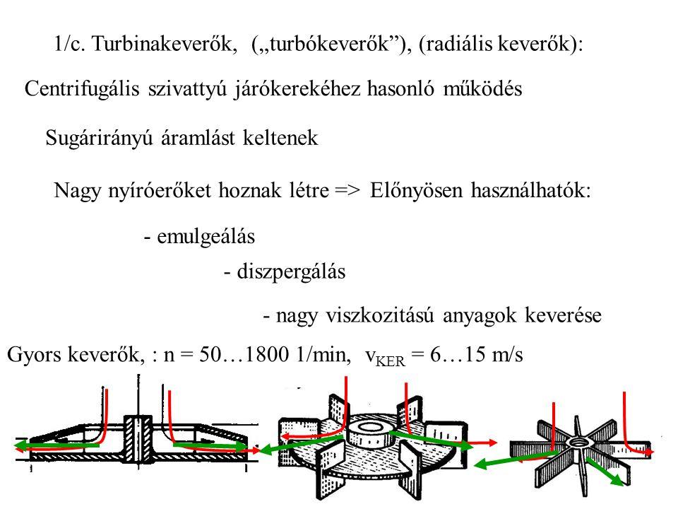 """1/c. Turbinakeverők, (""""turbókeverők""""), (radiális keverők): Centrifugális szivattyú járókerekéhez hasonló működés Sugárirányú áramlást keltenek Nagy ny"""