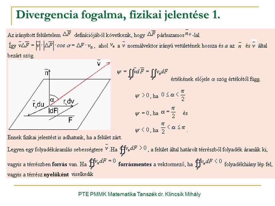 Divergencia fogalma, fizikai jelentése 1. PTE PMMK Matematika Tanszék dr. Klincsik Mihály
