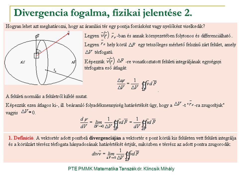 Divergencia fogalma, fizikai jelentése 2. PTE PMMK Matematika Tanszék dr. Klincsik Mihály