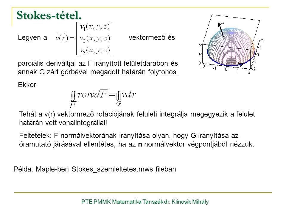 Stokes-tétel. PTE PMMK Matematika Tanszék dr. Klincsik Mihály Példa: Maple-ben Stokes_szemleltetes.mws fileban Legyen a vektormező és parciális derivá