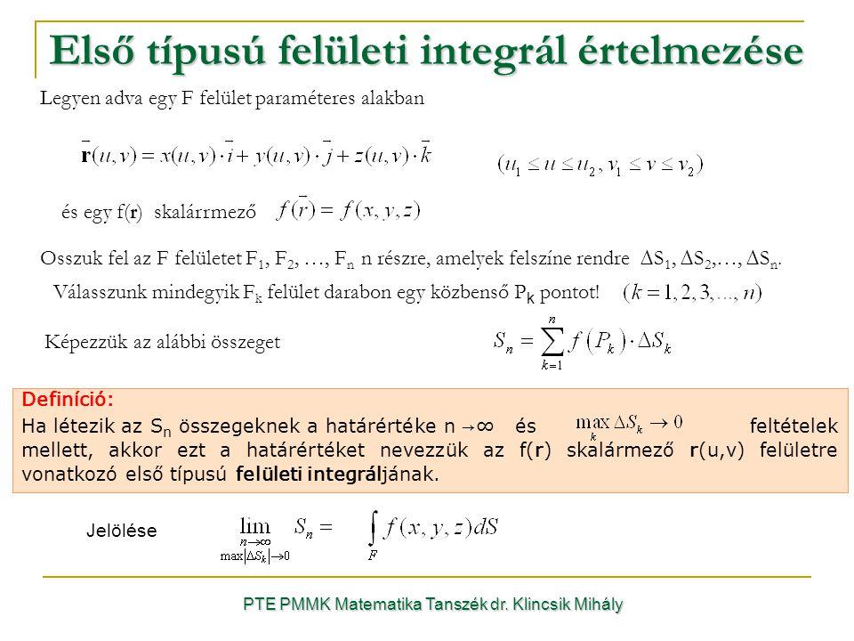 PTE PMMK Matematika Tanszék dr. Klincsik Mihály Első típusú felületi integrál értelmezése Definíció: Ha létezik az S n összegeknek a határértéke n →∞