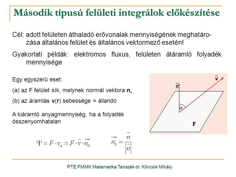 Második típusú felületi integrálok előkészítése PTE PMMK Matematika Tanszék dr. Klincsik Mihály Cél: adott felületen áthaladó erővonalak mennyiségének