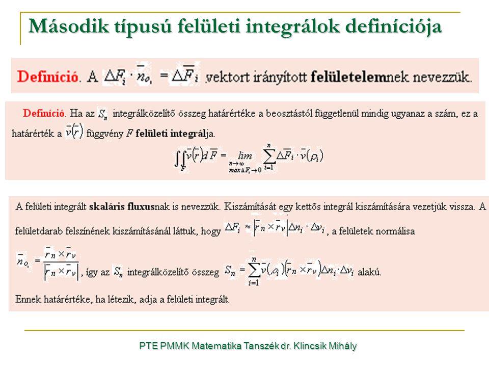 Második típusú felületi integrálok definíciója PTE PMMK Matematika Tanszék dr. Klincsik Mihály