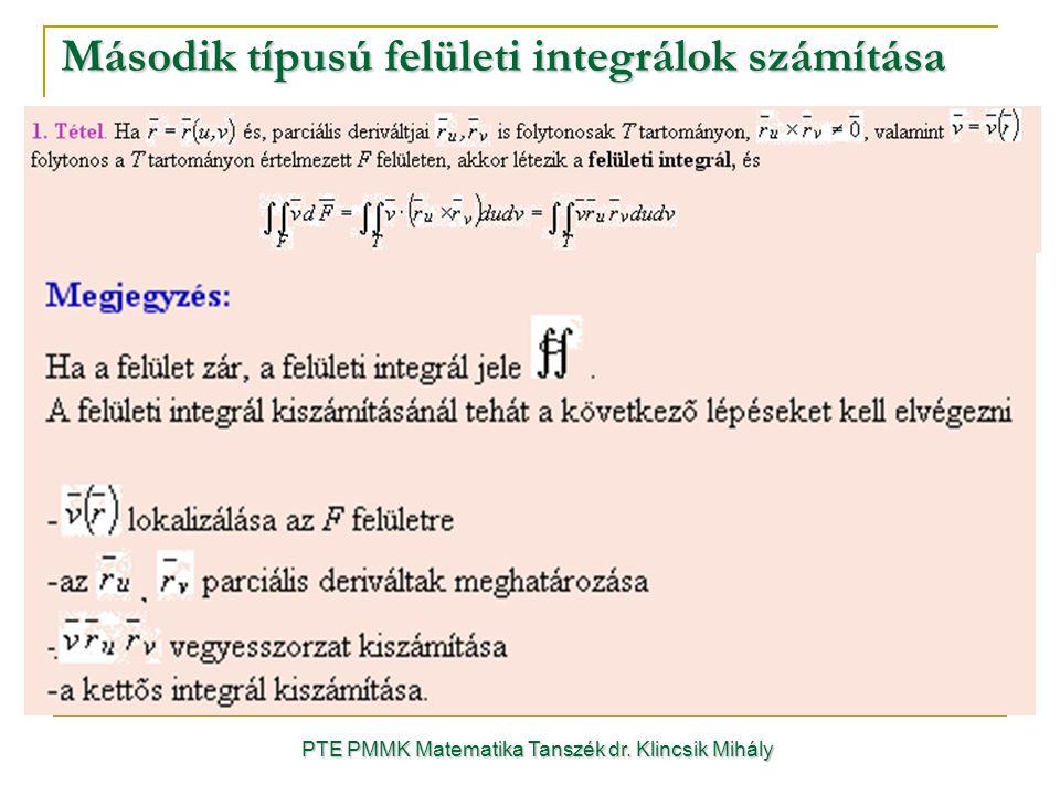 Második típusú felületi integrálok számítása PTE PMMK Matematika Tanszék dr. Klincsik Mihály