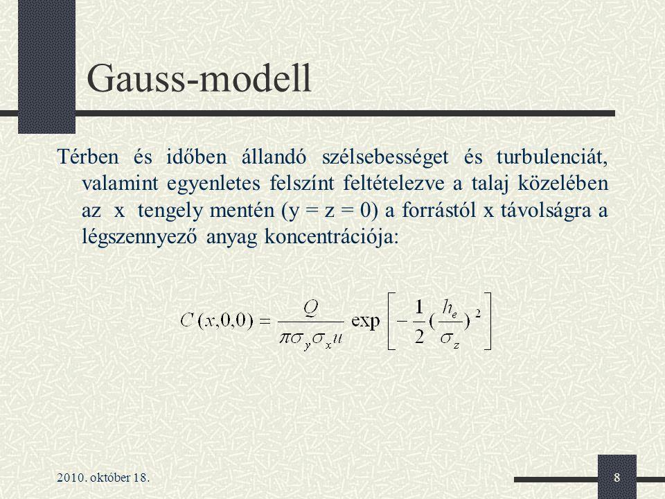 2010. október 18.8 Gauss-modell Térben és időben állandó szélsebességet és turbulenciát, valamint egyenletes felszínt feltételezve a talaj közelében a