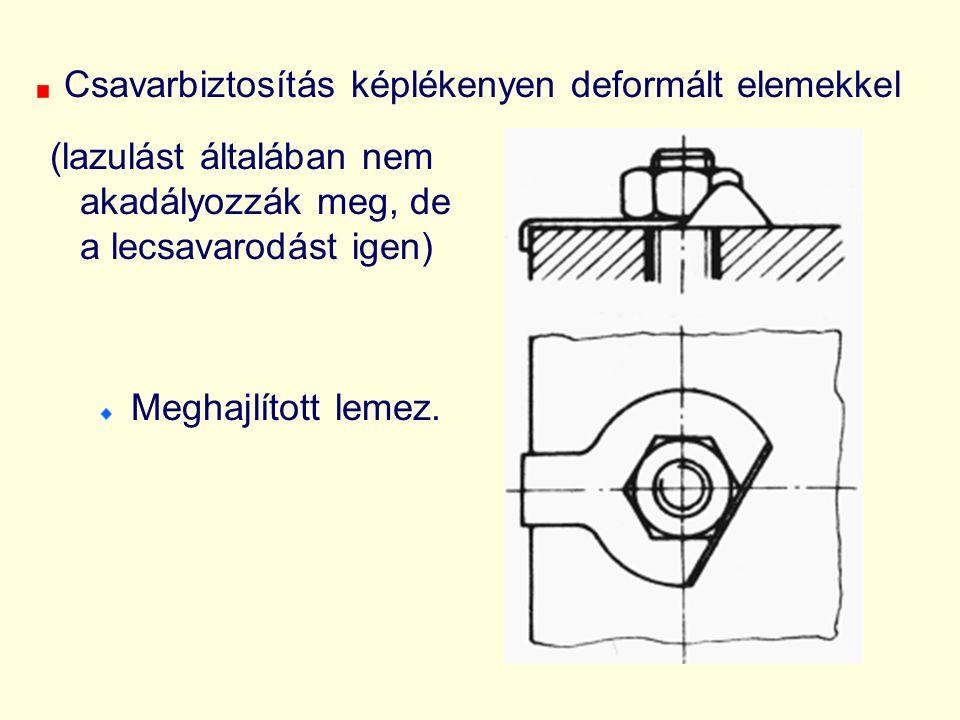 Csavarbiztosítás képlékenyen deformált elemekkel (lazulást általában nem akadályozzák meg, de a lecsavarodást igen) Meghajlított lemez.