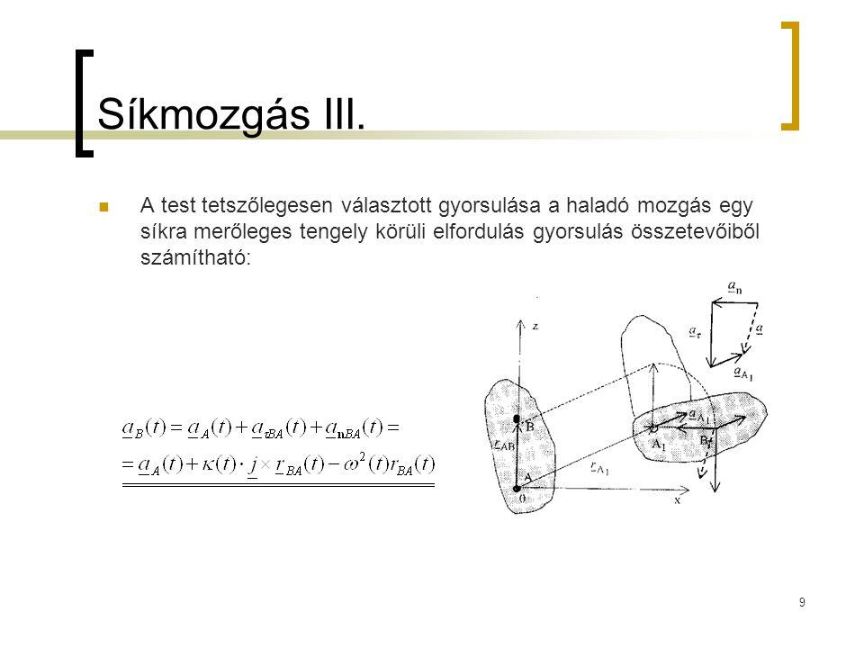 9 Síkmozgás III. A test tetszőlegesen választott gyorsulása a haladó mozgás egy síkra merőleges tengely körüli elfordulás gyorsulás összetevőiből szám