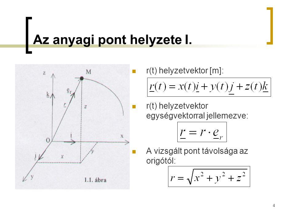 4 Az anyagi pont helyzete I. r(t) helyzetvektor [m]: r(t) helyzetvektor egységvektorral jellemezve: A vizsgált pont távolsága az origótól: