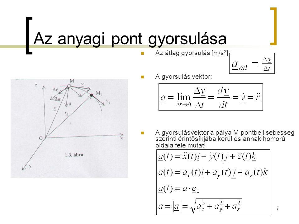 7 Az anyagi pont gyorsulása Az átlag gyorsulás [m/s 2 ]: A gyorsulás vektor: A gyorsulásvektor a pálya M pontbeli sebesség szerinti érintősíkjába kerü