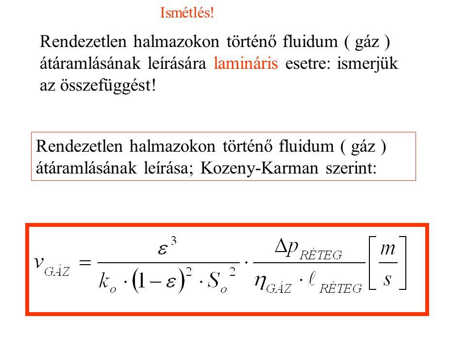 Rendezetlen halmazokon történő fluidum ( gáz ) átáramlásának leírása; Kozeny-Karman szerint: Rendezetlen halmazokon történő fluidum ( gáz ) átáramlásának leírására lamináris esetre: ismerjük az összefüggést.