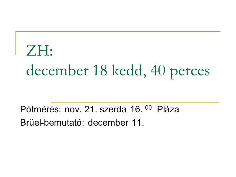 ZH: december 18 kedd, 40 perces Pótmérés: nov. 21. szerda 16. 00 Pláza Brüel-bemutató: december 11.