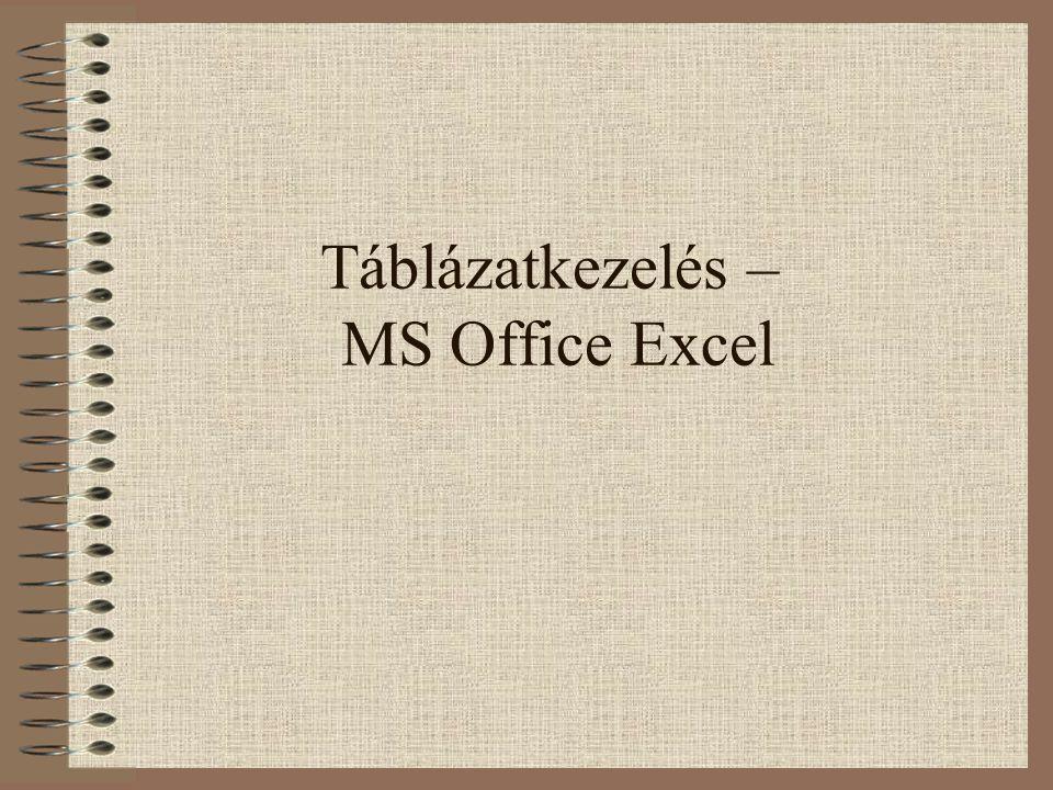 Táblázatkezelés – MS Office Excel