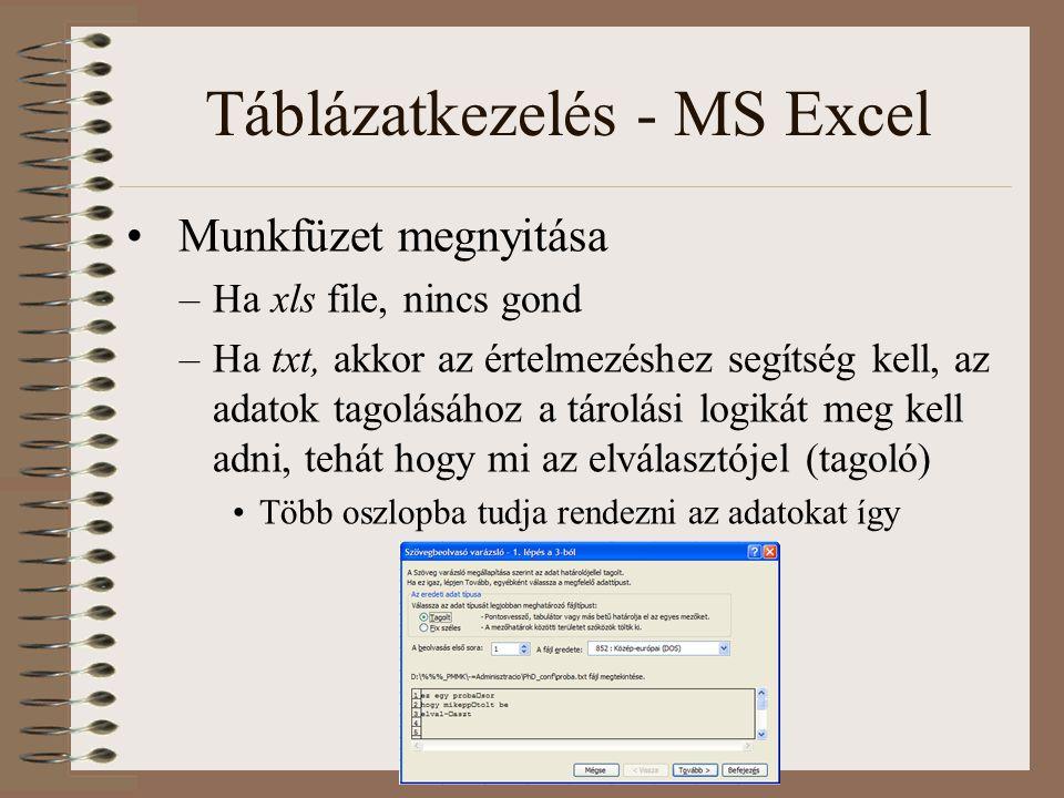 Táblázatkezelés - MS Excel Munkfüzet megnyitása –Ha xls file, nincs gond –Ha txt, akkor az értelmezéshez segítség kell, az adatok tagolásához a tárolá