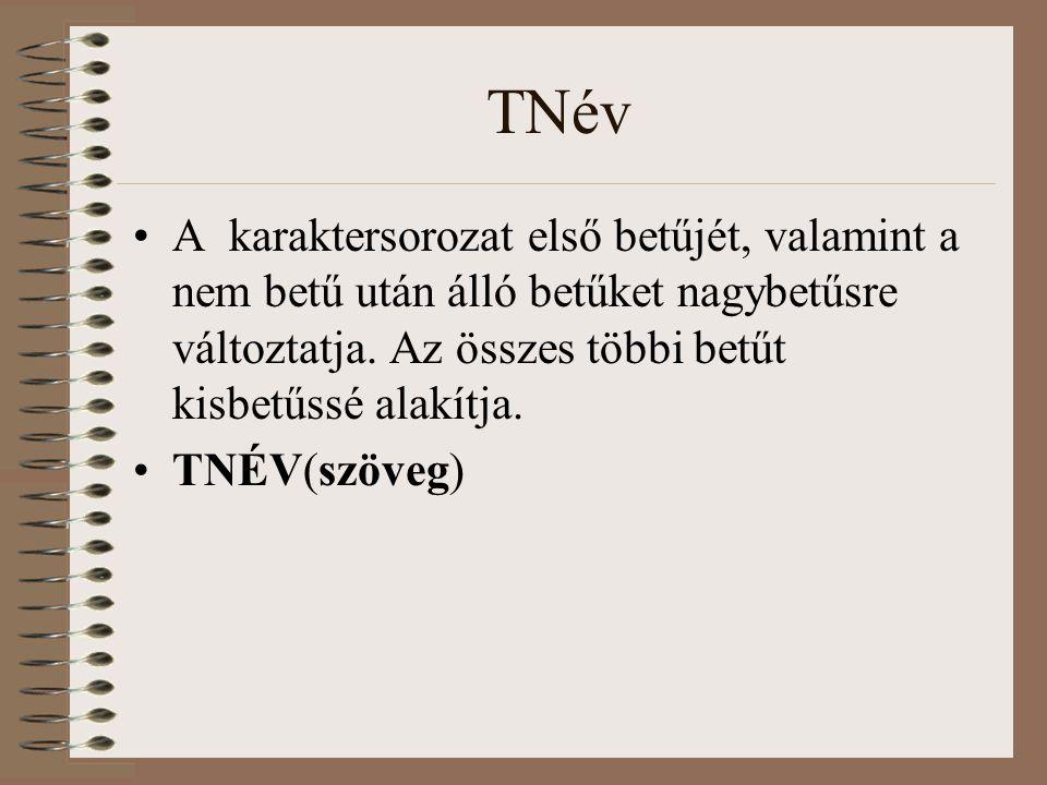 TNév A karaktersorozat első betűjét, valamint a nem betű után álló betűket nagybetűsre változtatja. Az összes többi betűt kisbetűssé alakítja. TNÉV(sz