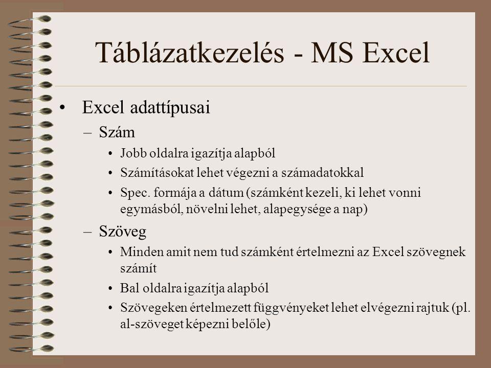 Táblázatkezelés - MS Excel Excel adattípusai –Szám Jobb oldalra igazítja alapból Számításokat lehet végezni a számadatokkal Spec. formája a dátum (szá