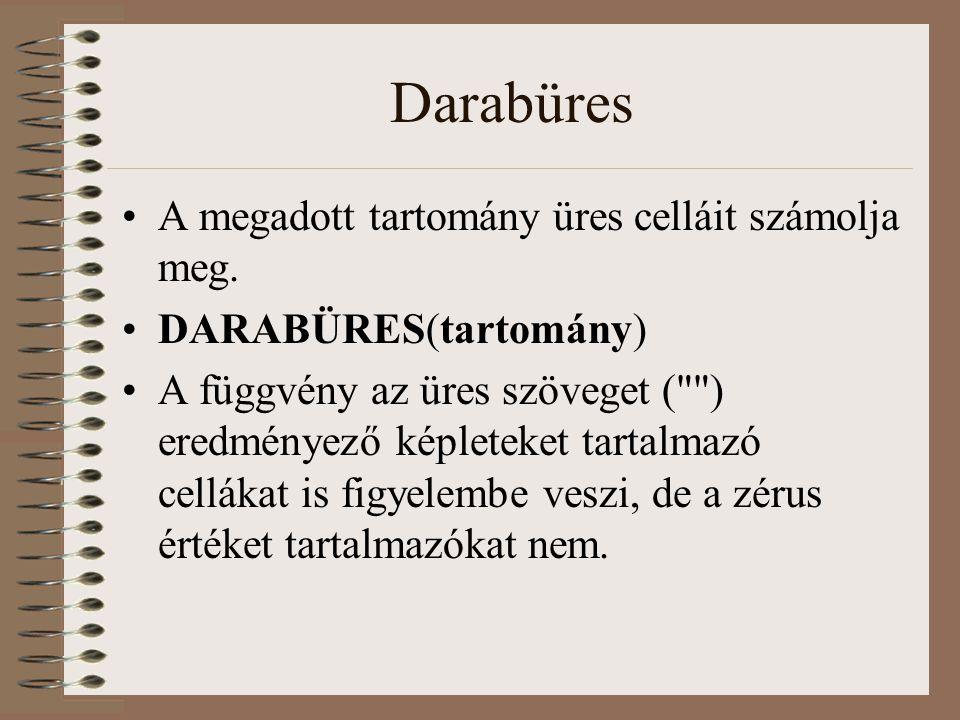 Darabüres A megadott tartomány üres celláit számolja meg. DARABÜRES(tartomány) A függvény az üres szöveget (