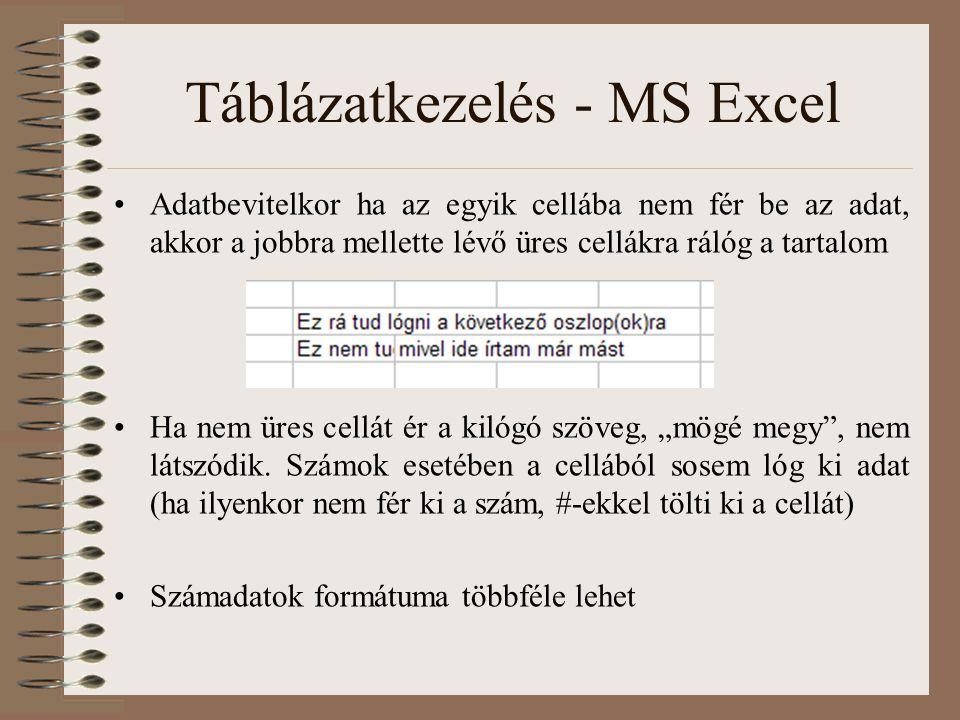 Táblázatkezelés - MS Excel Adatbevitelkor ha az egyik cellába nem fér be az adat, akkor a jobbra mellette lévő üres cellákra rálóg a tartalom Ha nem ü