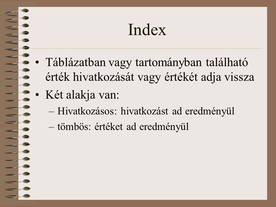Index Táblázatban vagy tartományban található érték hivatkozását vagy értékét adja vissza Két alakja van: –Hivatkozásos: hivatkozást ad eredményül –tö