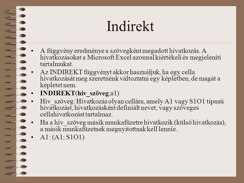 Indirekt A függvény eredménye a szövegként megadott hivatkozás. A hivatkozásokat a Microsoft Excel azonnal kiértékeli és megjeleníti tartalmukat. Az I