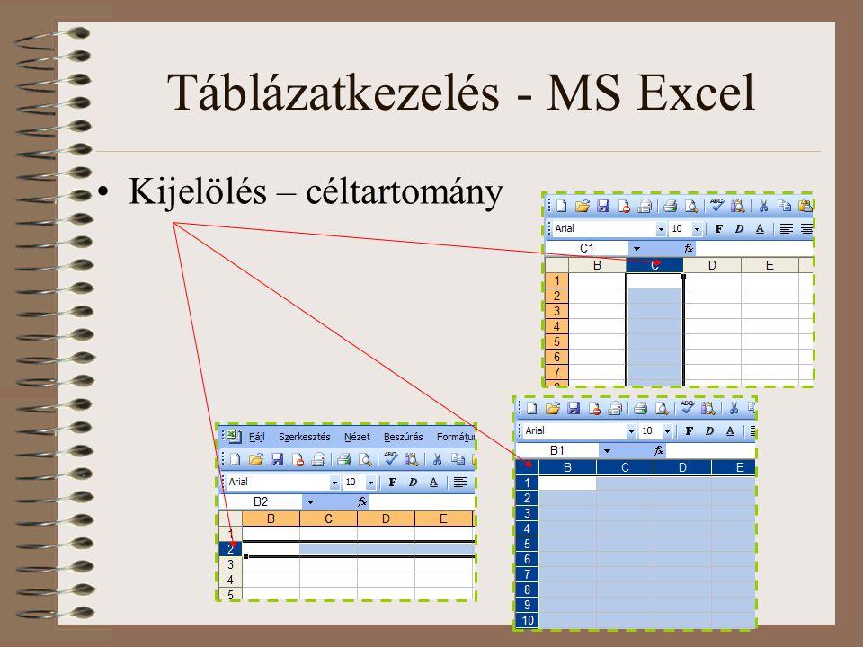 Táblázatkezelés - MS Excel Kijelölés – céltartomány