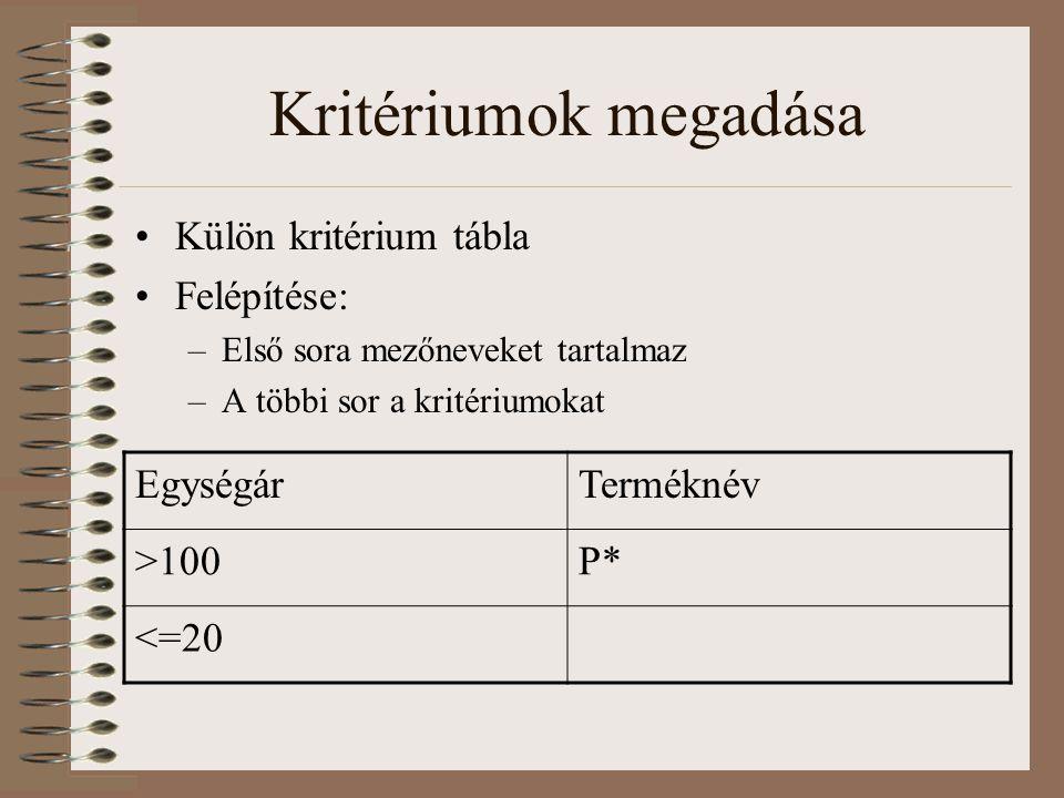 Kritériumok megadása Külön kritérium tábla Felépítése: –Első sora mezőneveket tartalmaz –A többi sor a kritériumokat EgységárTerméknév >100P* <=20