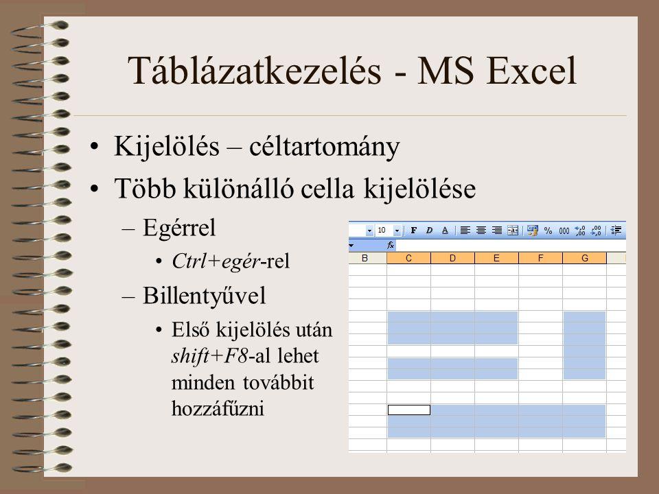 Táblázatkezelés - MS Excel Kijelölés – céltartomány Több különálló cella kijelölése –Egérrel Ctrl+egér-rel –Billentyűvel Első kijelölés után shift+F8-