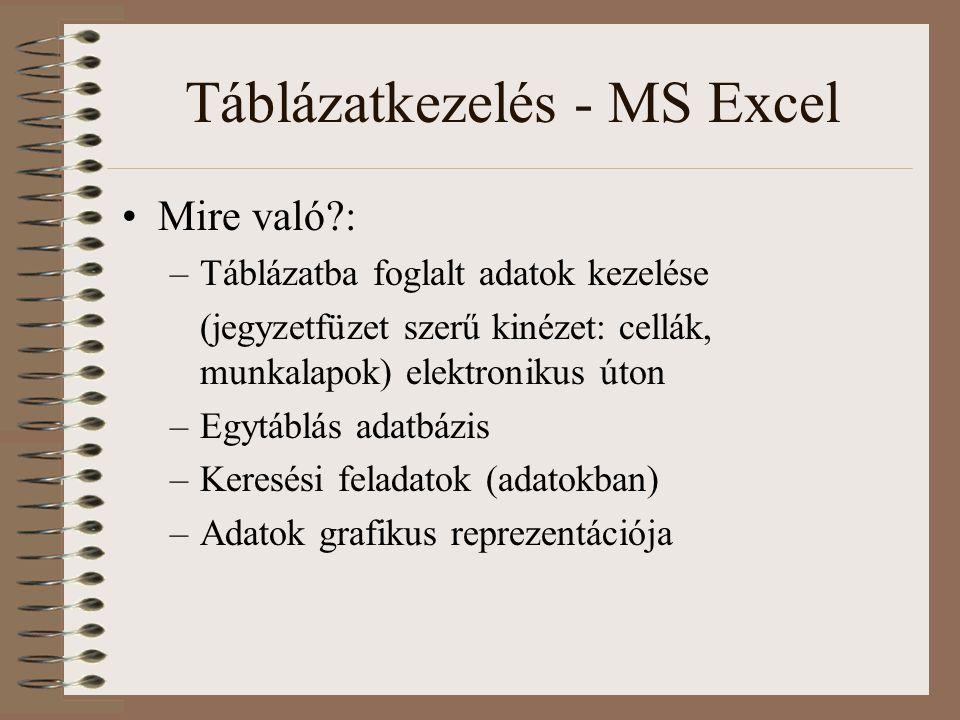 Táblázatkezelés - MS Excel Mire való?: –Táblázatba foglalt adatok kezelése (jegyzetfüzet szerű kinézet: cellák, munkalapok) elektronikus úton –Egytábl