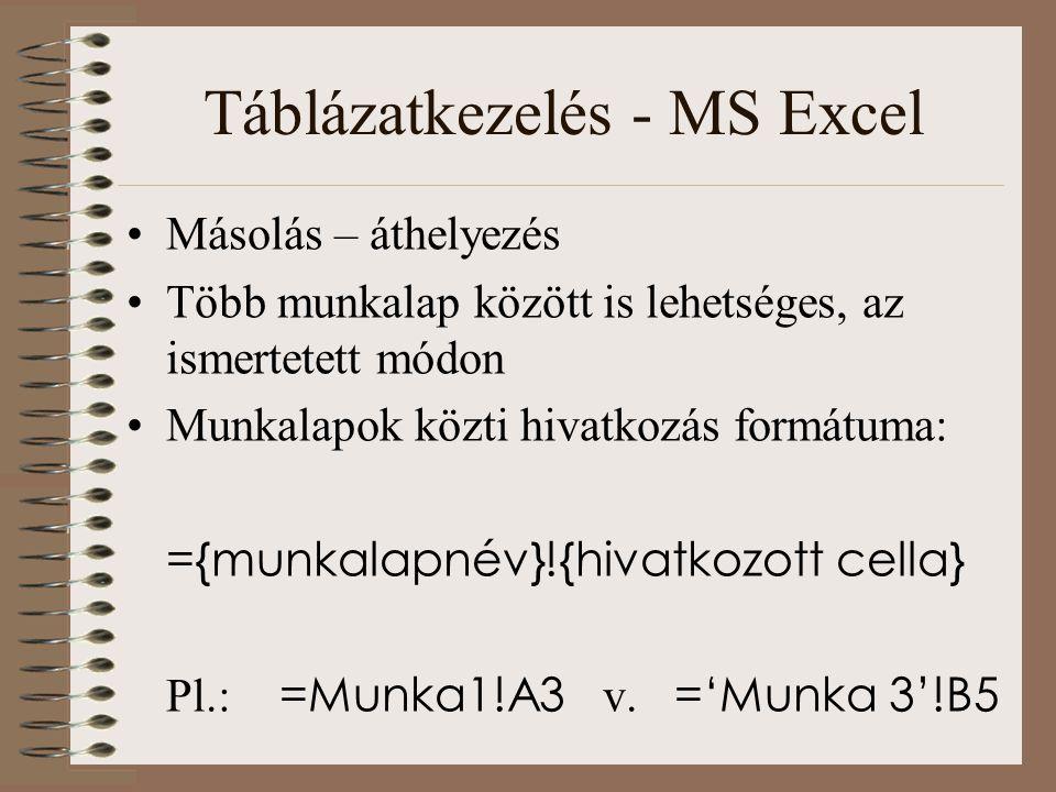 Táblázatkezelés - MS Excel Másolás – áthelyezés Több munkalap között is lehetséges, az ismertetett módon Munkalapok közti hivatkozás formátuma: ={munk