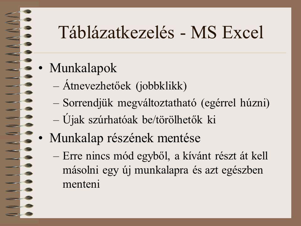 Táblázatkezelés - MS Excel Munkalapok –Átnevezhetőek (jobbklikk) –Sorrendjük megváltoztatható (egérrel húzni) –Újak szúrhatóak be/törölhetők ki Munkal