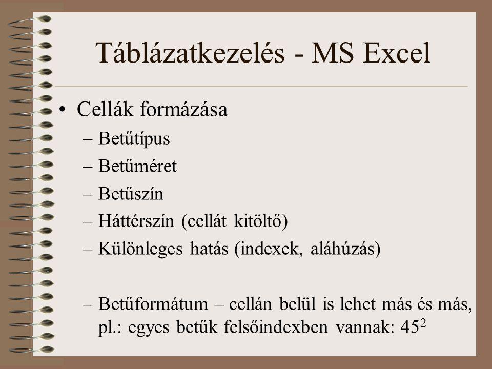 Táblázatkezelés - MS Excel Cellák formázása –Betűtípus –Betűméret –Betűszín –Háttérszín (cellát kitöltő) –Különleges hatás (indexek, aláhúzás) –Betűfo