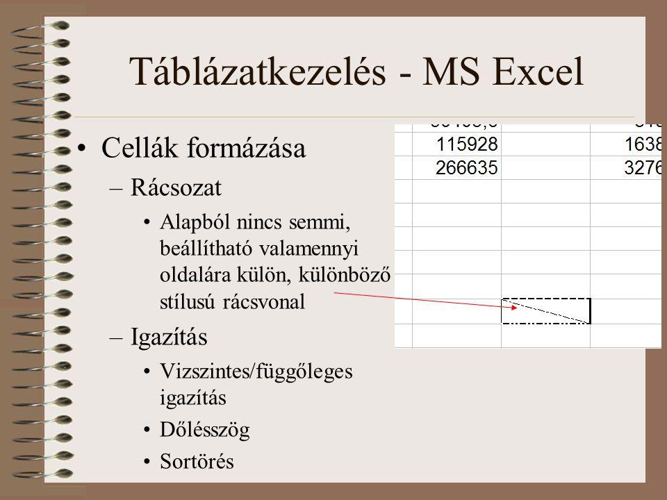 Táblázatkezelés - MS Excel Cellák formázása –Rácsozat Alapból nincs semmi, beállítható valamennyi oldalára külön, különböző stílusú rácsvonal –Igazítá