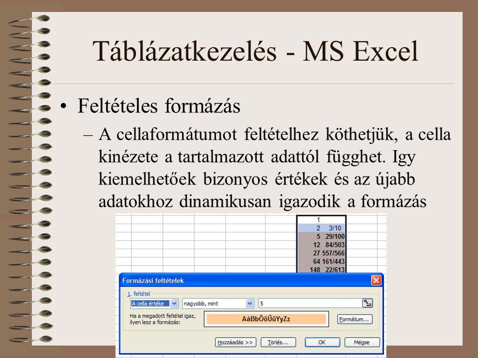 Táblázatkezelés - MS Excel Feltételes formázás –A cellaformátumot feltételhez köthetjük, a cella kinézete a tartalmazott adattól függhet. Igy kiemelhe