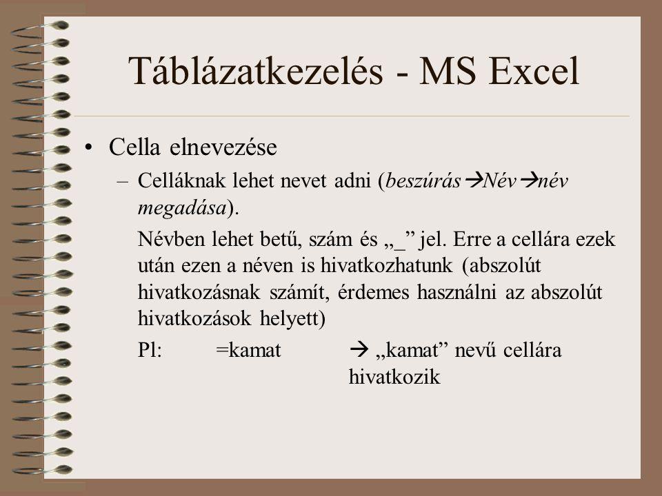 """Táblázatkezelés - MS Excel Cella elnevezése –Celláknak lehet nevet adni (beszúrás  Név  név megadása). Névben lehet betű, szám és """"_"""" jel. Erre a ce"""