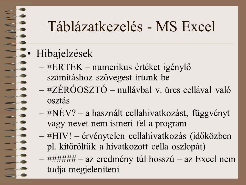 Táblázatkezelés - MS Excel Hibajelzések –#ÉRTÉK – numerikus értéket igénylő számításhoz szövegest írtunk be –#ZÉRÓOSZTÓ – nullávbal v. üres cellával v