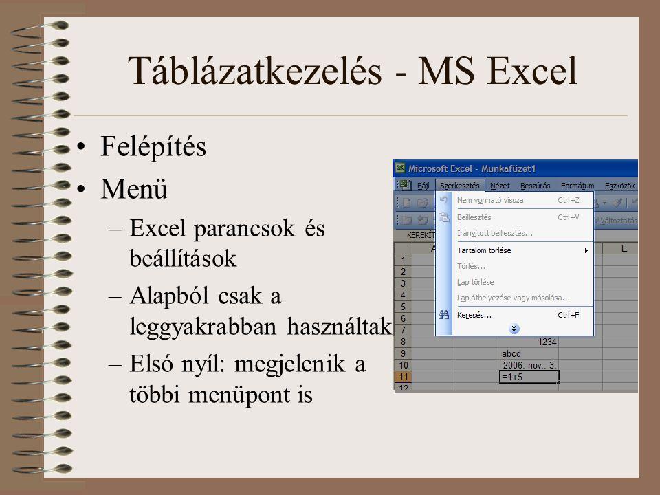 Táblázatkezelés - MS Excel Felépítés Menü –Excel parancsok és beállítások –Alapból csak a leggyakrabban használtak –Elsó nyíl: megjelenik a többi menü