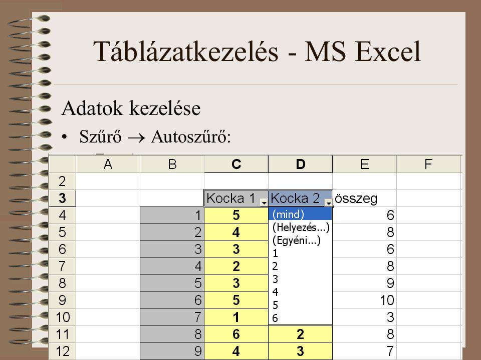 Táblázatkezelés - MS Excel Adatok kezelése Szűrő  Autoszűrő: