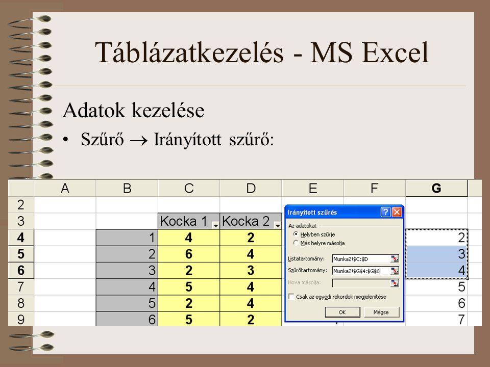Táblázatkezelés - MS Excel Adatok kezelése Szűrő  Irányított szűrő: