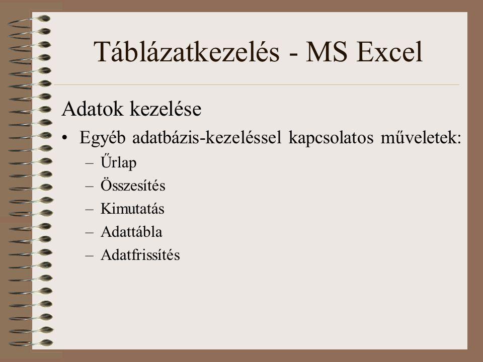 Táblázatkezelés - MS Excel Adatok kezelése Egyéb adatbázis-kezeléssel kapcsolatos műveletek: –Űrlap –Összesítés –Kimutatás –Adattábla –Adatfrissítés