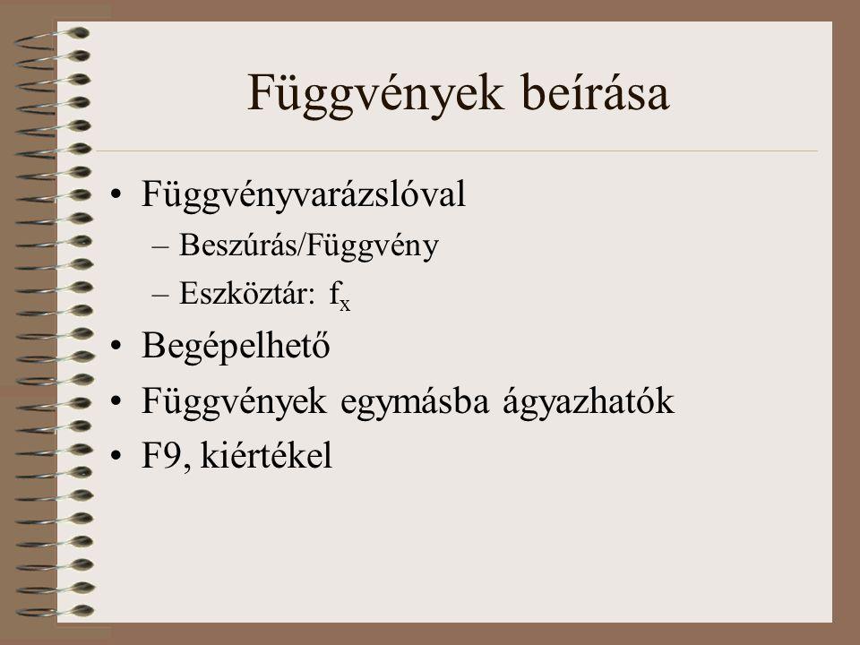 Függvények beírása Függvényvarázslóval –Beszúrás/Függvény –Eszköztár: f x Begépelhető Függvények egymásba ágyazhatók F9, kiértékel