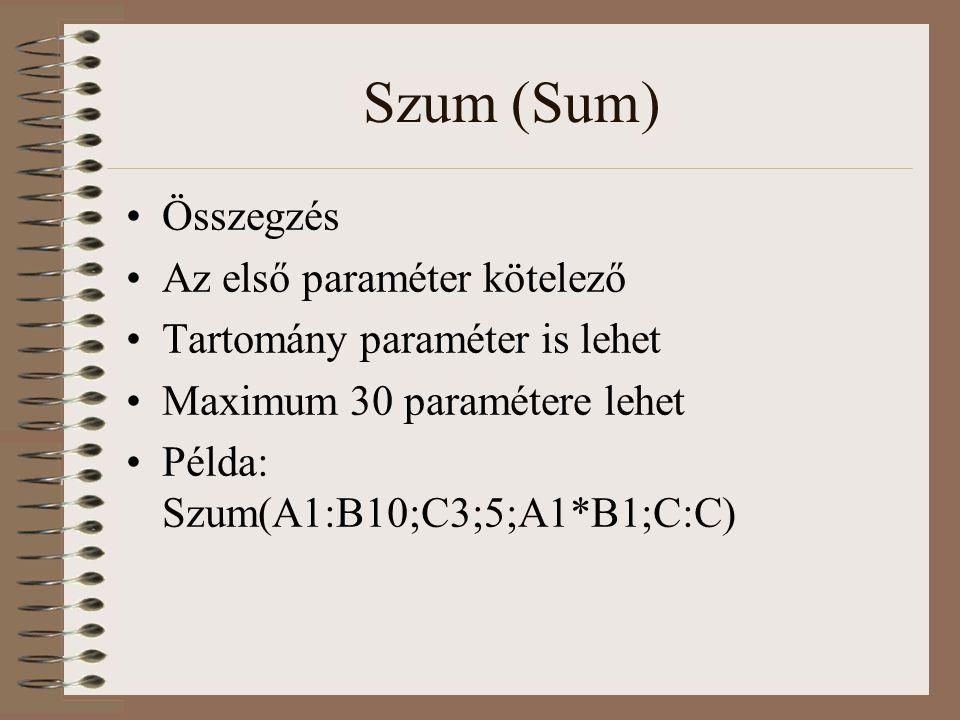 Szum (Sum) Összegzés Az első paraméter kötelező Tartomány paraméter is lehet Maximum 30 paramétere lehet Példa: Szum(A1:B10;C3;5;A1*B1;C:C)