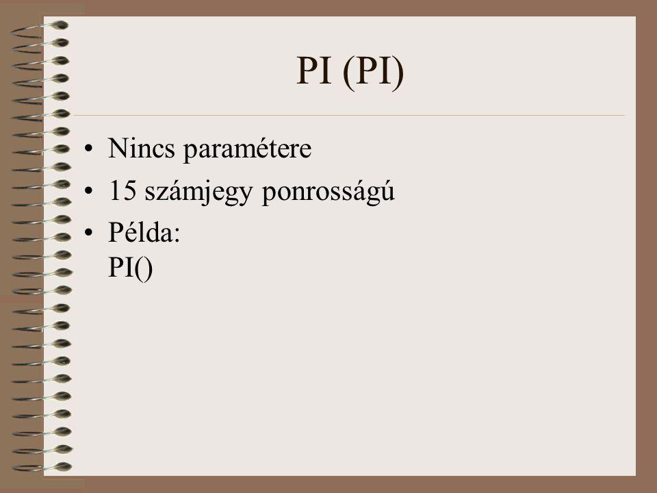 PI (PI) Nincs paramétere 15 számjegy ponrosságú Példa: PI()