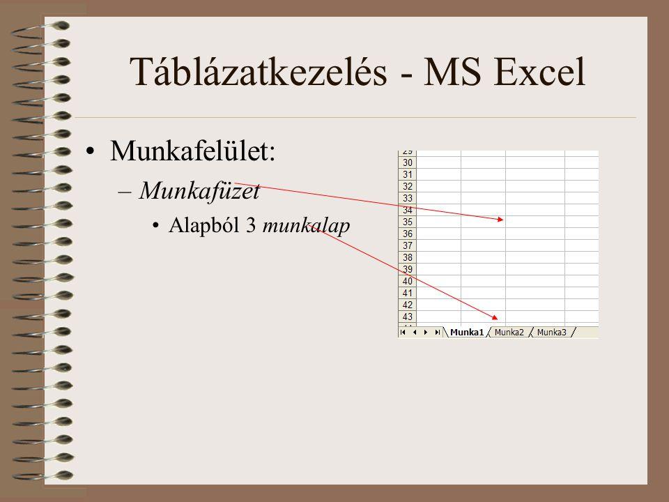 Táblázatkezelés - MS Excel Munkafelület: –Munkafüzet Alapból 3 munkalap