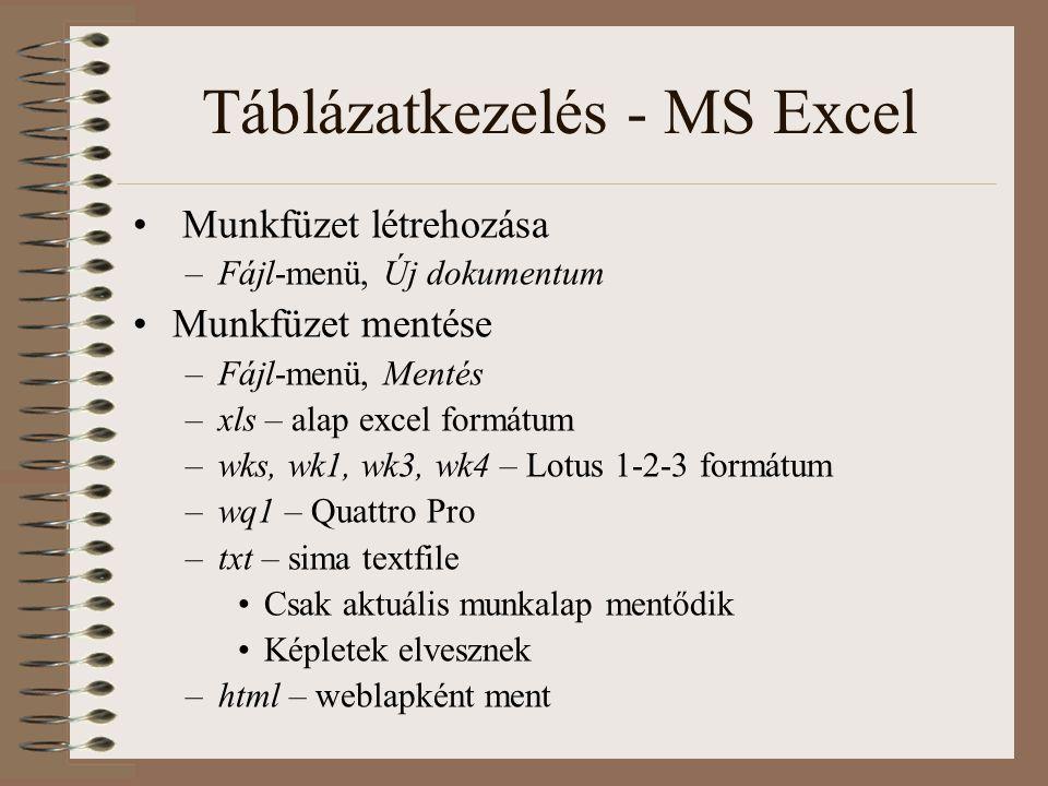 Táblázatkezelés - MS Excel Munkfüzet létrehozása –Fájl-menü, Új dokumentum Munkfüzet mentése –Fájl-menü, Mentés –xls – alap excel formátum –wks, wk1,
