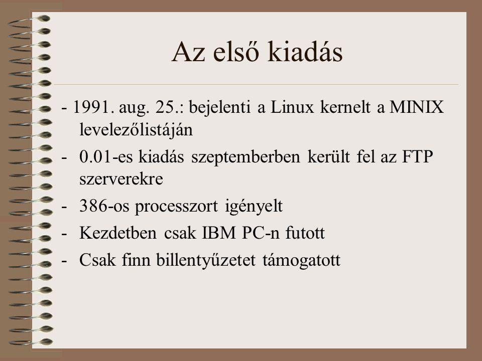 Az első kiadás - 1991. aug. 25.: bejelenti a Linux kernelt a MINIX levelezőlistáján -0.01-es kiadás szeptemberben került fel az FTP szerverekre -386-o