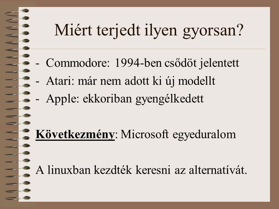 Miért terjedt ilyen gyorsan? -Commodore: 1994-ben csődöt jelentett -Atari: már nem adott ki új modellt -Apple: ekkoriban gyengélkedett Következmény: M