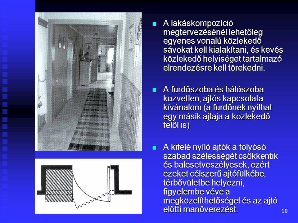 9 Lakáson belüli közlekedés A lakáson belüli akadálymentes közlekedéshez a bútorok között legalább 90 cm széles közlekedő sáv, magas felületekkel (fal