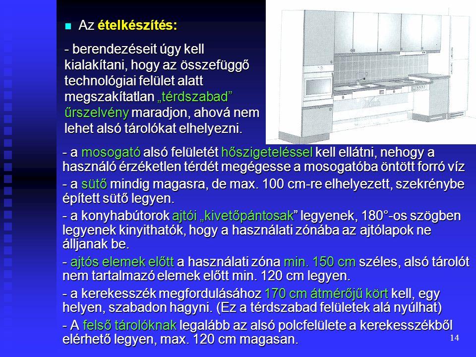 13 Ábra. a.) Hálószoba különböző segédeszközökkel b.) Kerekesszékkel kényelmesen használható étkező