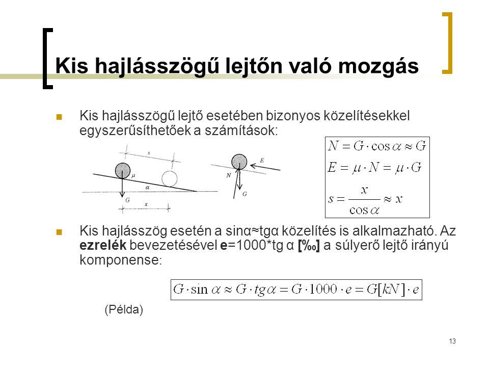 13 Kis hajlásszögű lejtőn való mozgás Kis hajlásszögű lejtő esetében bizonyos közelítésekkel egyszerűsíthetőek a számítások: Kis hajlásszög esetén a s