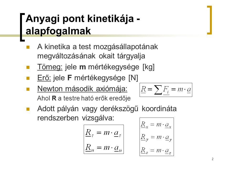 2 Anyagi pont kinetikája - alapfogalmak A kinetika a test mozgásállapotának megváltozásának okait tárgyalja Tömeg: jele m mértékegysége [kg] Erő: jele
